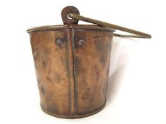 Antique Copper Apple Butter Kettle Small Pail Pot with Brass Handle Handmade | SOLD Kettles, Apple Butter, Paddles, Brass Handles, Antique Copper, Barware, Antiques, Handmade, Ebay