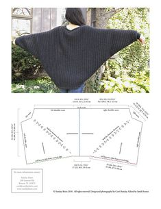 Cozy and elegant cocoon shaped shrug with dolman sleeves, knit in a super quick and easy sideways garter rib with bobble accents.