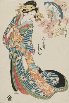 """thekimonogallery: """" Kashiku of the Tsuruya. Ukiyo-e woodblock print, About 1820, Japan, by artist Kikugawa Eizan. """""""