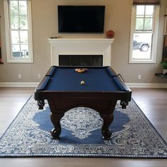 Finished Refelting And Replacing The Area Rug Underneath This 8 Foot World  Of Leisure Pool Table. Approximately 2 Years Old. Felt Color Is Navy Blue  Rug ...