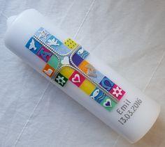Taufkerzen - Taufkerze Kreuz Mosaik - ein Designerstück von bb-magic-shop bei DaWanda