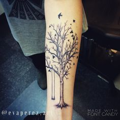 Tree tattoo, birds, swing
