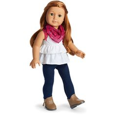 Image for Western Chic Outfit from American Girl This outfit includes a tank top with empire waist and tiered ruffles, jeggings perfect for horseback riding, a paisley-print scarf and fringed ankle boots. American Girl Outlet, American Girl Crafts, All American Girl, American Girl Clothes, Girl Doll Clothes, Doll Clothes Patterns, Girl Dolls, Ag Dolls, Girl Clothing