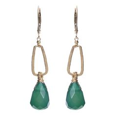 These elegant earrings feature gorgeous green onyx accented by hand-hammered gold-filled metal.