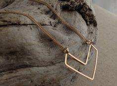 Gold Chevron Necklace - wire jewelry by cristysjewelry on etsy