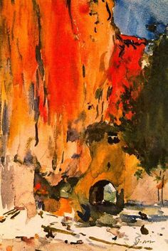 Joaquim Mir i Trinxet, Sant Miquel del Fai Spanish Painters, Spanish Artists, Watercolor Landscape, Watercolor Art, Pierre Auguste Renoir, Sculpture, Gravure, Art Reproductions, Art Techniques