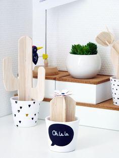 DIY cactus balsa Kawaii Diy, Small Wood Projects, Wooden Flowers, Cactus Y Suculentas, Boho Diy, Summer Diy, Diy For Kids, Decoration, Diy And Crafts