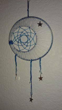 Resultado de imagen para crescent moon dreamcatcher blue black white