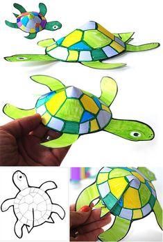 Kağıt işleri olarak basit bir şekilde kalıbıyla birlikte kolay üç boyutlu kaplumbağa yapımı etkinliği örneği çalışmaları. Kalıbı İndir