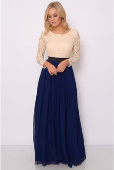 Image for Nude and Navy Lace Long Sleeve Maxi