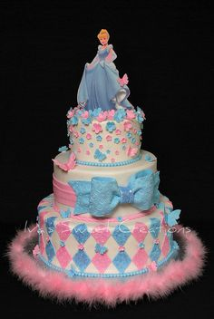 Disney Cinderella in sweet pinks & blues! Love the fuzzy base Pretty Cakes, Beautiful Cakes, Amazing Cakes, Cupcakes, Cupcake Cakes, Cupcake Ideas, Birthday Cake Girls, Birthday Cakes, Birthday Ideas