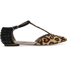 Sam Edelman Colt embellished leopard-print calf hair point-toe flats ($135) ❤ liked on Polyvore featuring shoes, flats, leopard print, black strappy shoes, pointed-toe leopard flats, sam edelman flats, black flat shoes and strappy flats
