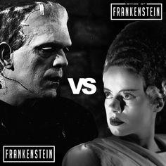 In this battle between beauty or brawn, who'd win? Frankenstein. Bride of Frankenstein. Universal Monsters, September 2017