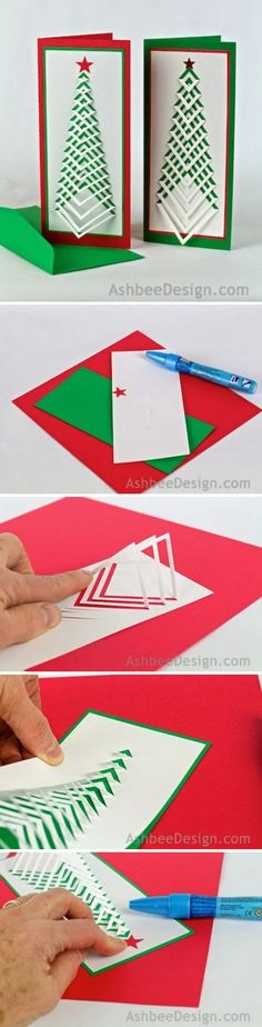 Chevron Christmas Tree Card.