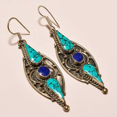 """20GM STERLING SILVER SEMI PRECIOUS GEMSTONE TURQUOISE LAPIS 3"""" INDIAN EARRING #AbhigyaartJewelry"""