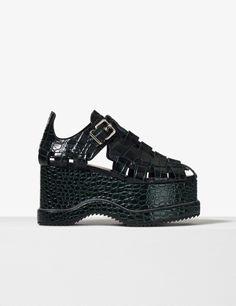 35e7ccf32fac Proenza Schouler Black green embossed croc calf leather woven close toe  platform sandal