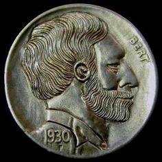 MIKE CIRELLI HOBO NICKEL - 1930 BUFFALO NICKEL PROFILE Hobo Nickel, Modern Times, Buffalo, Cactus, Coins, Carving, Profile, Succulents, User Profile