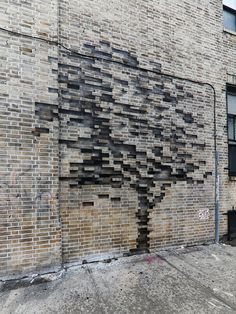 """itscolossal: """"Trees Grow from Bricks and a Storefront on the Streets of New Yo.itscolossal: """"Trees Grow from Bricks and a Storefront on the Streets of New York by Pejac """" 19 Ceramic roof tiles REQUEST QUOTES / CATALOGUES Find pro. Brick Design, Facade Design, Exterior Design, Brick Architecture, Landscape Architecture, Brick Art, Brick By Brick, Brick Walls, Brick Detail"""