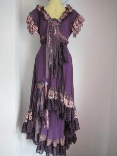 bohemian gypsy | .a gorgeous purple bohemian gypsy dress with ruffles of lace ... MUST HAVE! !!