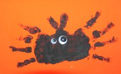 Halloween spider Toddler Craft - could trace hands rather than paint used