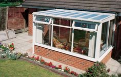 White Lean-To Conservatory Lean To Conservatory, Conservatory Ideas, Outdoor Decor, Conservatories, Image, Home Decor, New Houses, Nice, Decoration Home