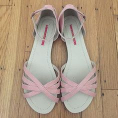 Pastel Pink Sandals Originally purchased from ModCloth, worn only twice and in perfect condition on top. Wear shown in soles on photo, otherwise like new! ModCloth Shoes Sandals