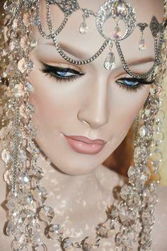 Genuine Crystal Queen Empress Princess headdress headpiece avant garde rhinestone jewelry fantasy tribal gypsy layered chain