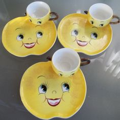 Vintage NC PY Made in Japan Lemon Plates and Cups - Rare, Collectible