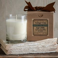 Vintage Aroma Boxed Candle-Fill your home with the amazing aromas of yesteryear. From the smell of cotton blooming in the Delta to that unforgettable barbershop scent of talc, hair tonics and cheap coffee!