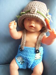 Fisherman Outfit Newborn to 3 months www.facebook.com/pages/Amandas-Crochet-Gifts-From-the-Heart/447950321940473
