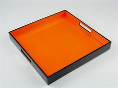Orange Black lacquer serving tray  | Pacific Connections