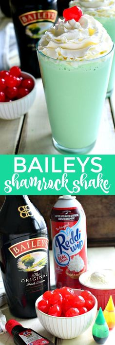 This Baileys Shamrock Shake is the BEST of both worlds! Rich Baileys Irish Cream meets McDonald's Copycat Shamrock Shakes. This delicious dessert shake will be the hit of the night. Holiday Drinks, Summer Drinks, Fun Drinks, Healthy Drinks, Christmas Mocktails, Healthy Food, Baileys Irish Cream, Irish Cream Drinks, Shamrock Shake