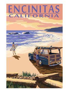 Laguna Beach, California - Woody on Beach - Lantern Press Artwork Giclee Art Print, Gallery Framed, Espresso Wood), Multi