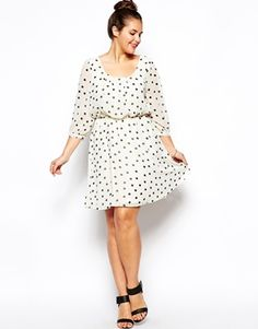 Image 4 of New Look Inspire Polka Dot  Longsleeve Dress