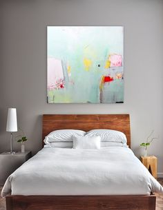 Large Abstract painting  24x24  Mint green painting. by DUEALBERI, $250.00