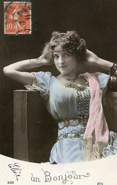 Original French vintage hand tinted real photo postcard - Lady in blue dress with headpiece