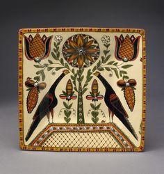 by-Selinda Kennedy pheasant and tulip fraktur design on redware facebook.com/kennedyredware