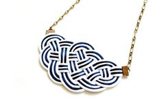 FREE SHIPPING  Big Sailor's Knot Necklace  white by elfinadesign, $30.00