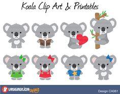 Koala Clip Art & Printables Set CA061 / Koalas Clipart / Australian Animal Decorations / Koala Birthday Printables / Girl Koalas / Boy Koala - pinned by pin4etsy.com
