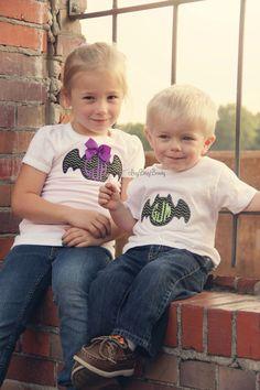 Halloween sibling shirts bat purple green chevron personalized
