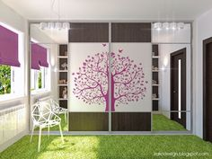 Stylish and Cute Purple Room Ideas for Teenage Girls: Tree Decal Girls Wardrobes ~ Teens Bedroom Inspiration