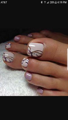 Acrylic Nail Art For More Beautiful Nails Pretty Toe Nails, Cute Toe Nails, Fancy Nails, My Nails, Pretty Toes, Toe Nail Color, Toe Nail Art, Nail Colors, Swirl Nail Art