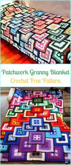 Discover thousands of images about Crochet Patchwork Granny Blanket Free Pattern - Crochet Block Blanket Free Patterns Crochet Afghans, Crochet Squares Afghan, Crochet Quilt, Crochet Blocks, Granny Squares, Patchwork Blanket, Blanket Yarn, Patchwork Fabric, Knitted Blankets