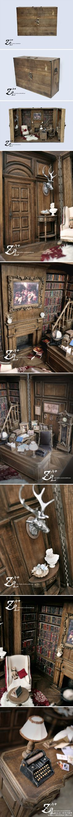 Wonderful antique library box - there are about 600 books on those shelves.  Now that's a labour of love.