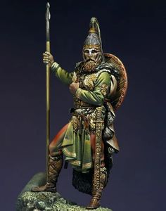 Slavic Warrior VII century A D Pegaso Models white metal kit Vikings, Gaul Warrior, The Modelling News, Roman Warriors, Arm Armor, Toy Soldiers, Roman Soldiers, Figure Model, Dark Ages