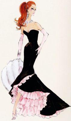 "Silkstone ""Siren"" gown  ~ Robert Best, Barbie Fashion Illustration sketch drawing art"