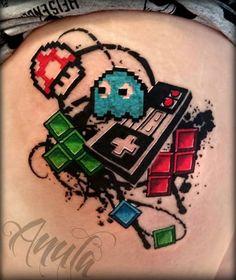 Nes (nintendo) tattoo done by anna at hydraulix tattoos studio. Tattoos 3d, Gamer Tattoos, Retro Tattoos, Cartoon Tattoos, Body Art Tattoos, Sleeve Tattoos, Tatoos, Creative Tattoos, Unique Tattoos