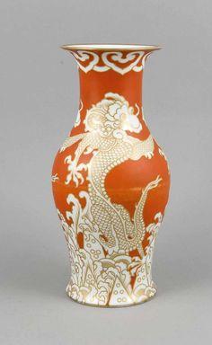 Art-Deco-Vase, Rosenthal, Selb-Bavaria, Marke 1922-33, Dekor Rosenthal Rot, u. bez., Entwurf Hans Sc