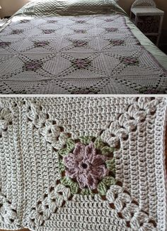 "'Pretty Petals' squares, free pattern by Melinda Miller. Crocheted here by ellen95 in eight-round 12"" squares; center flower in ILTY 'Lavender Smoke', 2nd round leaves in RHSS 'Frosty Green'. *NOTE: Leave off last round of SC; see The Patchwork Heart's afghan: https://www.pinterest.com/pin/44332377562857824/ #crochet #afghan #blanket #throw"