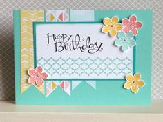 Petite Petals stamp set and matching punch used here in colours of Coastal Cabana, Crushed Curry and Calypso Coral - created by Julia Jordan www.papercraftelegance.blogspot.co.uk